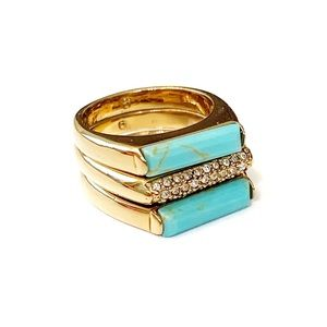 Michael Kors Turquoise and Gold Stack Rings Size 6